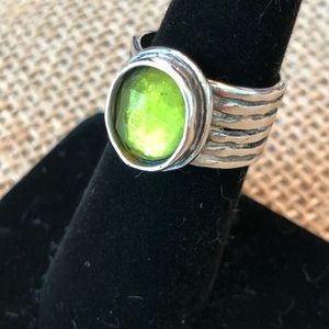 Silpada Sterling Green Artisan Wide Band Ring Sz 6